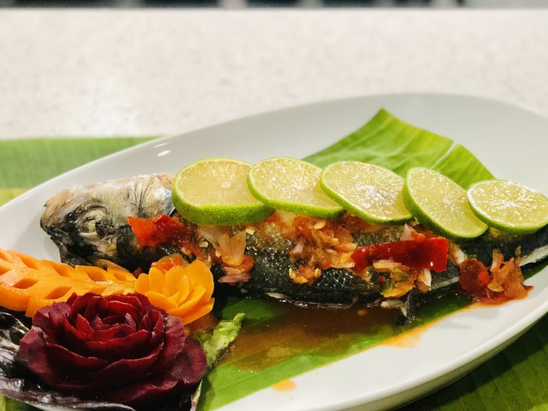 Thai steamed fish with chilli & lime